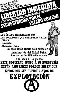 ANTI-ANARCHIST REPRESSION IN CHILE. Immediate freedom to the 14!!!